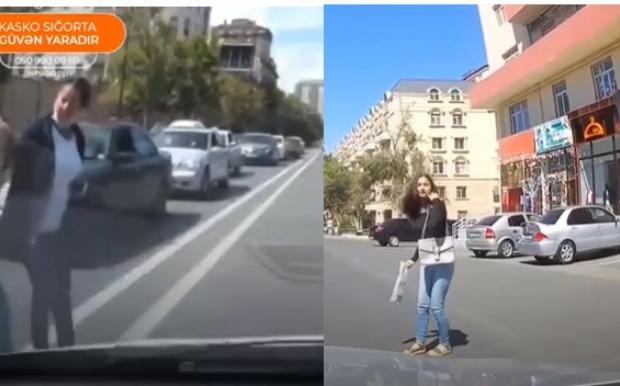 Bakıda canından bezən qadın piyadalar qəzadan son anda qurtuldu – VİDEO