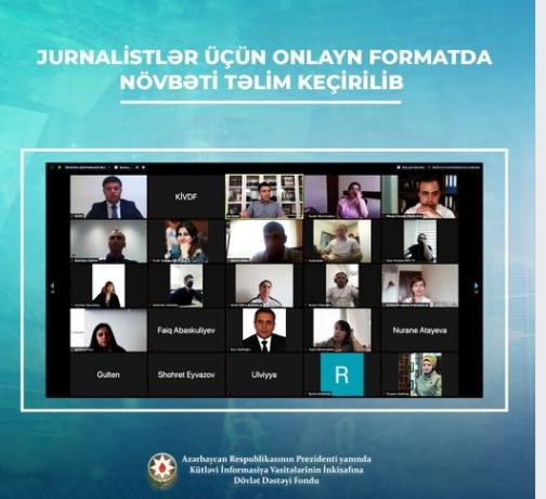 Jurnalistlər üçün onlayn formatda üçüncü təlim keçirilmişdir