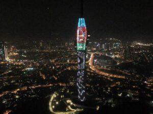 İstanbulda Televiziya və Radio Qülləsi üçrəngli bayrağımızın rənglərinə büründü – FOTO