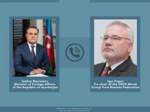Ceyhun Bayramov ATƏT-in Minsk Qrupunun həmsədrləri ilə telefonla danışıb