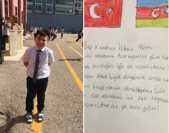 """Türkiyəli uşaq İlham Əliyevə yazdığı məktubla KÖVRƏLTDİ: """"Gəl desən, gələrəm…"""" – FOTO"""