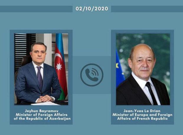 Azərbaycan və Fransa XİN başçıları arasında telefon danışığı olub