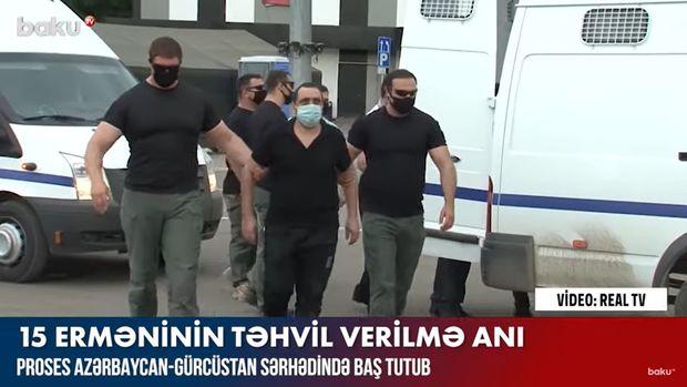 15 erməni hərbçinin təhvil verilmə anı – VİDEO