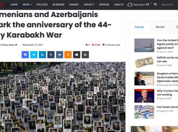 """44 günlük Qarabağ müharibəsinin ildönümü – """"Foreign Policy News""""da"""