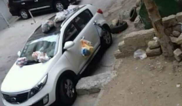 "Bakıda avtomobili ""zibil qutusu""na çevirdilər – FOTO"